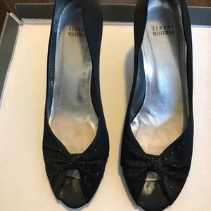 Stuart Weitzman Black Silk peep toe silk pump
